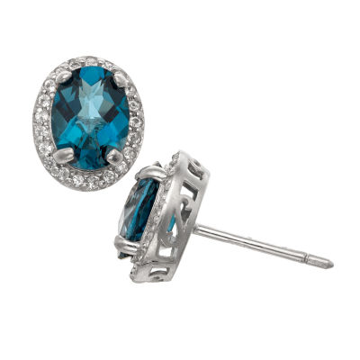 Genuine Blue Topaz Sterling Silver 10.7mm Stud Earrings