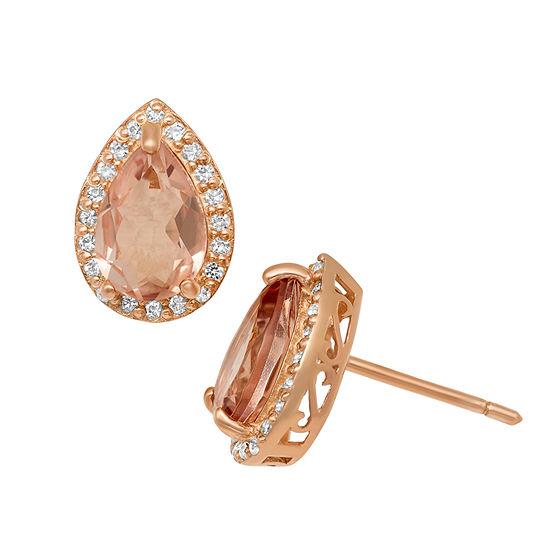 Simulated Pink Morganite 14K Rose Gold Over Silver 12.2mm Stud Earrings