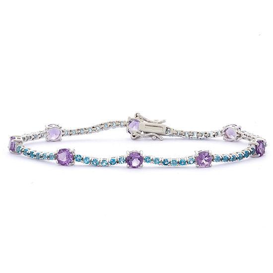 Genuine Purple Amethyst Sterling Silver 7.25 Inch Tennis Bracelet