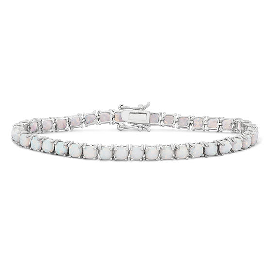 Lab Created White Opal Sterling Silver 7.25 Inch Tennis Bracelet