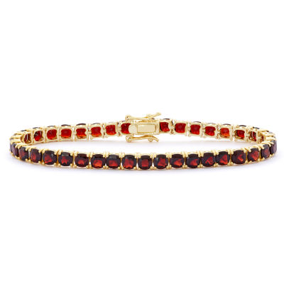 Genuine Red Garnet 14K Gold Over Silver 7.25 Inch Tennis Bracelet