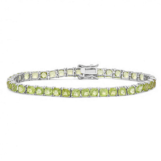 Genuine Green Peridot Sterling Silver 7.25 Inch Tennis Bracelet