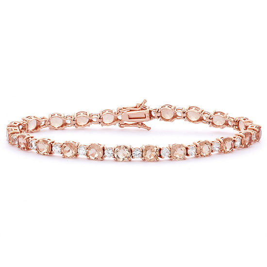 Simulated Pink Morganite 14K Rose Gold Over Silver 7.25 Inch Tennis Bracelet