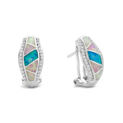 Lab Created Blue Opal Sterling Silver Clip On Earrings