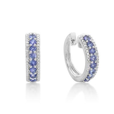 Genuine Blue Tanzanite 17.8mm Hoop Earrings
