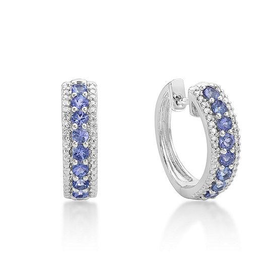 Genuine Blue Tanzanite Sterling Silver 17.8mm Hoop Earrings