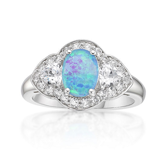 Womens Lab Created Blue Opal Sterling Silver 3-Stone Cocktail Ring