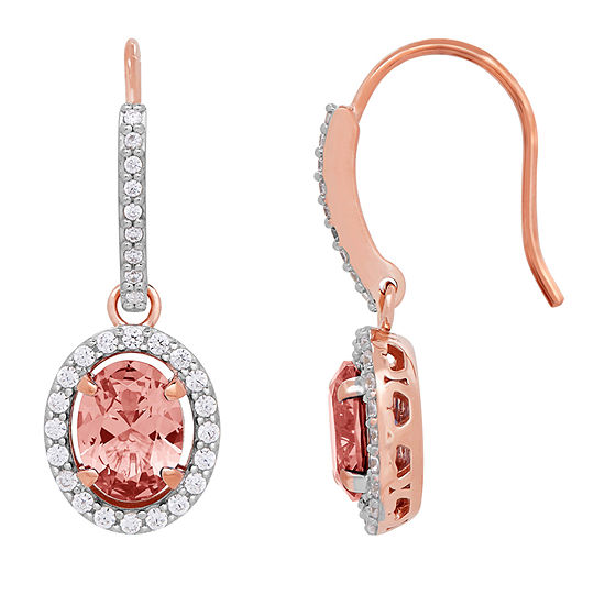 18K Rose Gold Over Silver Simulated Morganite Drop Earrings