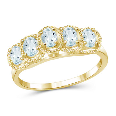 Womens Color Enhanced Blue Aquamarine Gold Over Silver Side Stone Ring