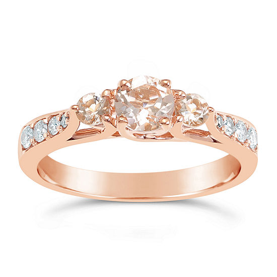 Womens 1/7 CT. T.W. Genuine Pink Morganite 10K Gold Round 3-Stone Cocktail Ring