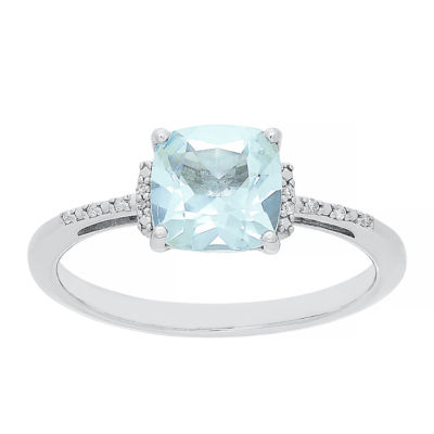 Womens Genuine Blue Aquamarine 10K White Gold Cocktail Ring