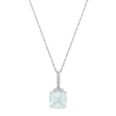 Womens Genuine Blue Aquamarine 10K White Gold Pendant Necklace
