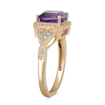 Womens Genuine Purple Amethyst 10K Rose Gold Cocktail Ring