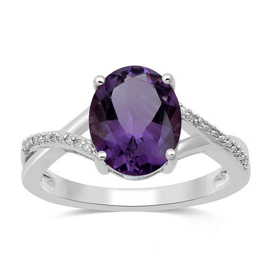 Womens Genuine Purple Amethyst 10K White Gold Cocktail Ring