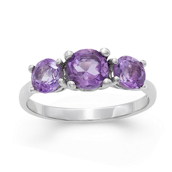 Womens Genuine Purple Amethyst Sterling Silver 3-Stone Cocktail Ring