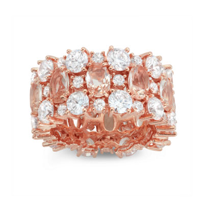 Womens Pink Morganite 14K Rose Gold Over Silver Band