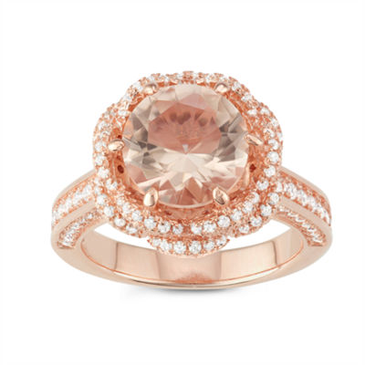 Womens Simulated Pink Morganite 14K Rose Gold Over Silver Cocktail Ring