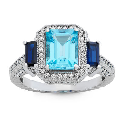 Womens Blue Topaz Sterling Silver Side Stone Cocktail Ring