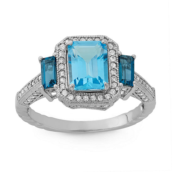 Womens Genuine Blue Topaz Sterling Silver Side Stone Cocktail Ring