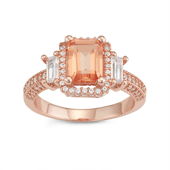 Womens Simulated Pink Morganite 14K Rose Gold Over Silver Side Stone Cocktail Ring