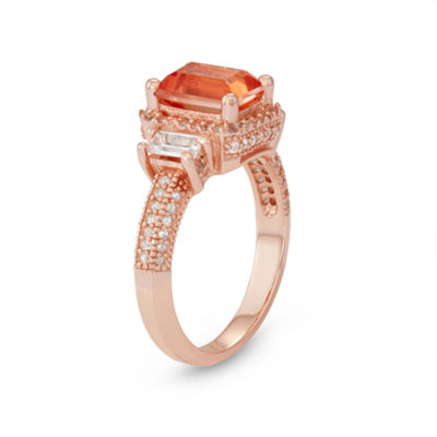 Womens Pink Morganite 14K Rose Gold Over Silver Side Stone Ring