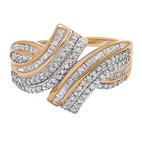 Womens 1/2 CT. T.W. Genuine White Diamond 10K Gold Bypass  Ring Sets