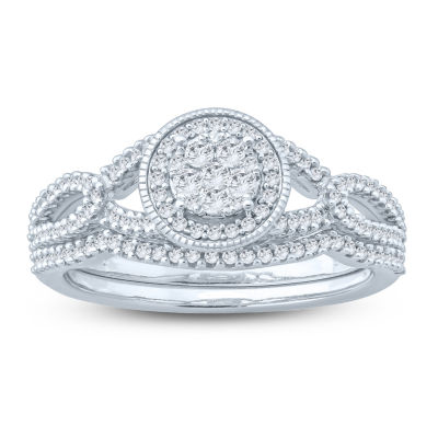 Womens 3/8 CT. T.W. Genuine White Diamond Sterling Silver Bridal Set