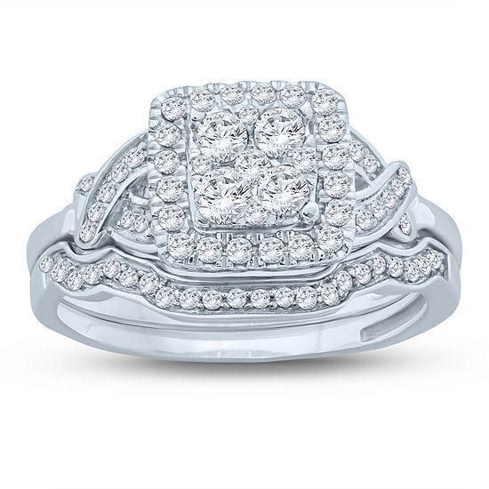 Womens 5 8 Ct Tw Genuine White Diamond 10k Gold Bridal Set