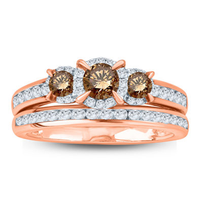 Womens 1 CT. T.W. Genuine Multi Color Diamond 10K Gold Bridal Set