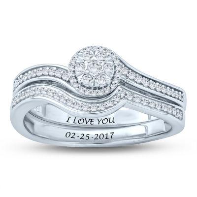 Womens 1/4 CT. T.W. Genuine White Diamond Sterling Silver Bridal Set