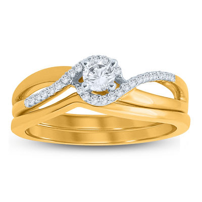Womens 1/4 CT. T.W. Genuine White Diamond 10K Gold Bridal Set