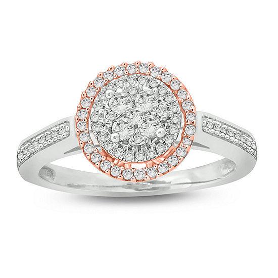 Womens 1/2 CT. T.W. Genuine White Diamond 10K Two Tone Gold Engagement Ring