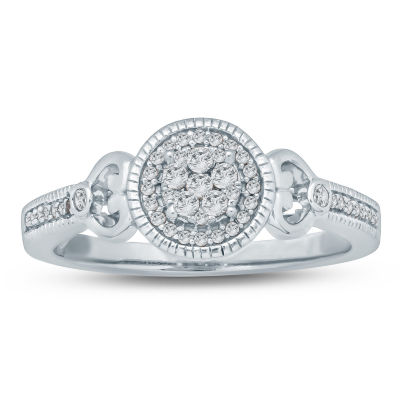 Promise My Love Womens 1/5 CT. T.W. Genuine White Diamond Promise Ring