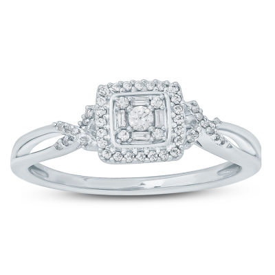 Promise My Love Womens 1/6 CT. T.W. Multi-Shape White Diamond Sterling Silver Promise Ring