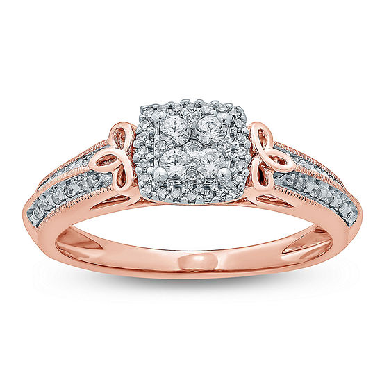 Promise My Love Womens 1/5 CT. T.W. Genuine White Diamond 10K Gold Promise Ring