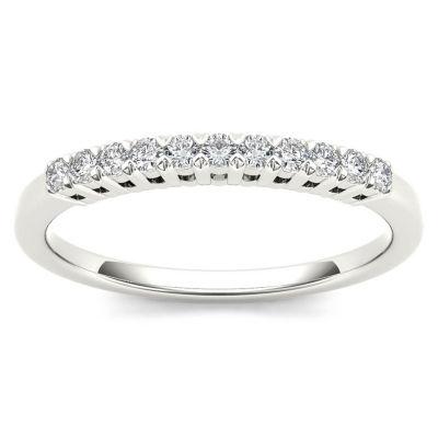 Womens 2 Mm 1/5 CT. T.W. Genuine White Diamond 10K Gold Wedding Band