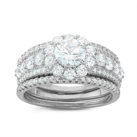 Womens 2 CT. T.W. White Cubic Zirconia Sterling Silver Round Bridal Set