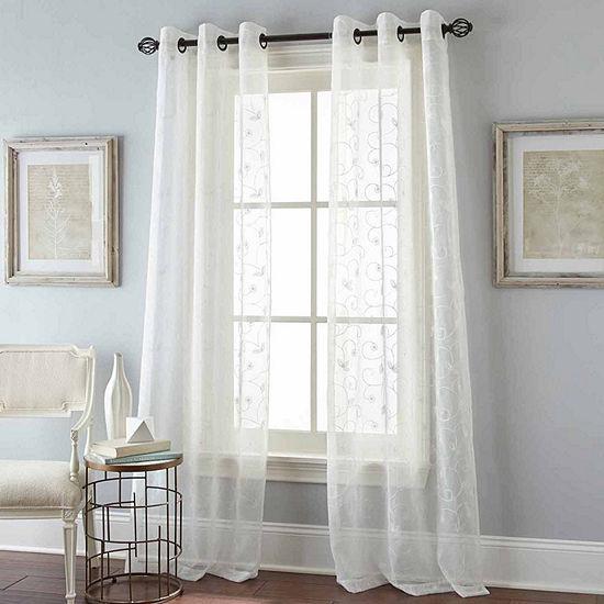 Floral Scroll Grommet-Top Sheer Curtain Panel