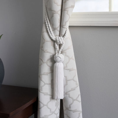 2-Pack Decorative White Braid Head Top Knot Tassel Curtain Holdback Tieback
