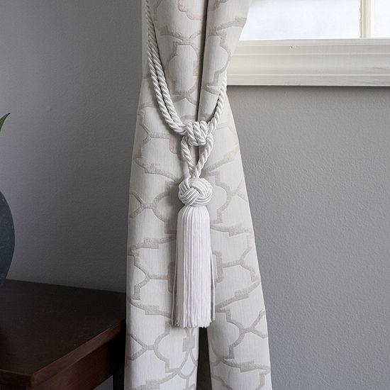 2 Pack Decorative White Braid Head Top Knot Tassel Curtain Holdback Tieback