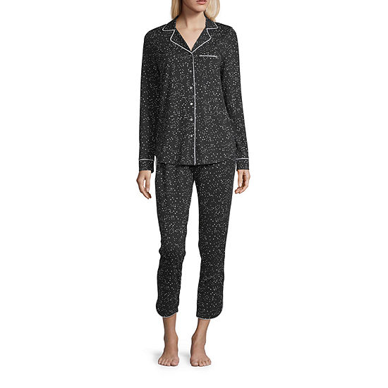 Ambrielle Womens-Petite Pant Pajama Set 2-pc. Long Sleeve