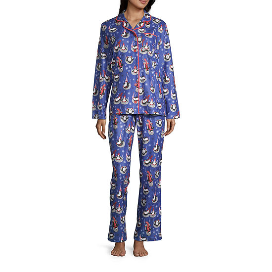 Nite Nite Munki Munki Penguin Family Coat Front Womens-Petite Pant Pajama Set 2-pc. Long Sleeve