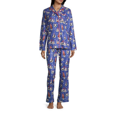 Nite Nite Munki Munki Penguin Family Coat Front Womens-Tall Pant Pajama Set 2-pc. Long Sleeve