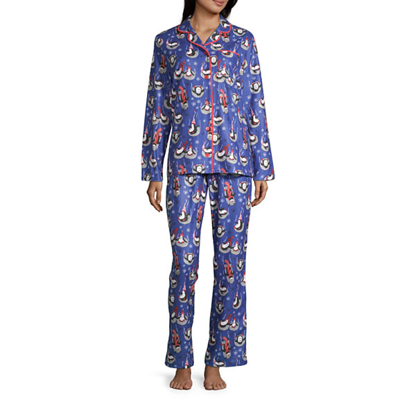 Nite Nite Munki Munki Penguin Family Coat Front Womens-Talls Pant Pajama Set 2-pc. Long Sleeve