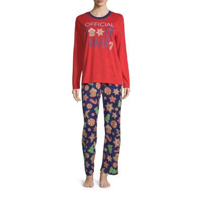 Secret Santa Cookie Family Womens-Petite Pant Pajama Set 2-pc. Long Sleeve