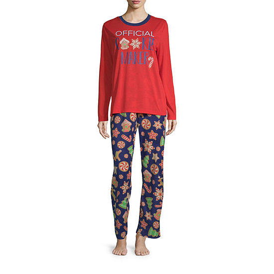 Secret Santa Cookie Family Womens-Talls Pant Pajama Set 2-pc. Long Sleeve