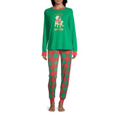 Sleepy Nites Buffalo Check Family Womens-Petite Pant Pajama Set 2-pc. Long Sleeve