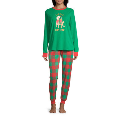 Sleepy Nites Buffalo Check Family Womens Long Sleeve 2-pc. Pant Pajama Set -Talls