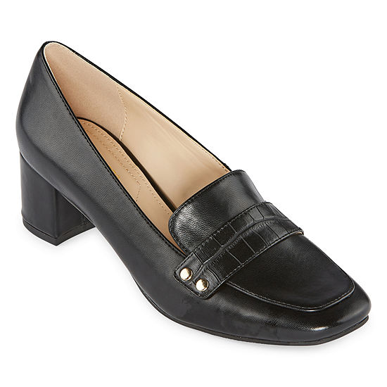 Liz Claiborne Womens Medina Slip-on Square Toe Block Heel Pumps