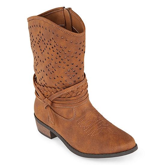 Arizona Girls Pumpkin Cowboy Boots Block Heel